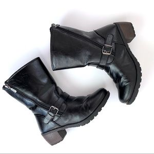 Khombu Faux Leather Zipper Boots